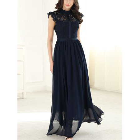 Long Maxi Lace Chiffon Formal Bridesmaid Wedding Guest Dresses Women Sleeveless Evening Cocktail Party Prom Ball Gowns