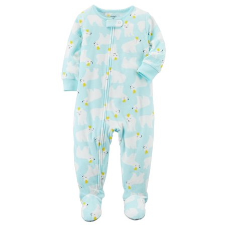 Carter's Little Girls' 1-Piece Polar Bear Fleece PJs,