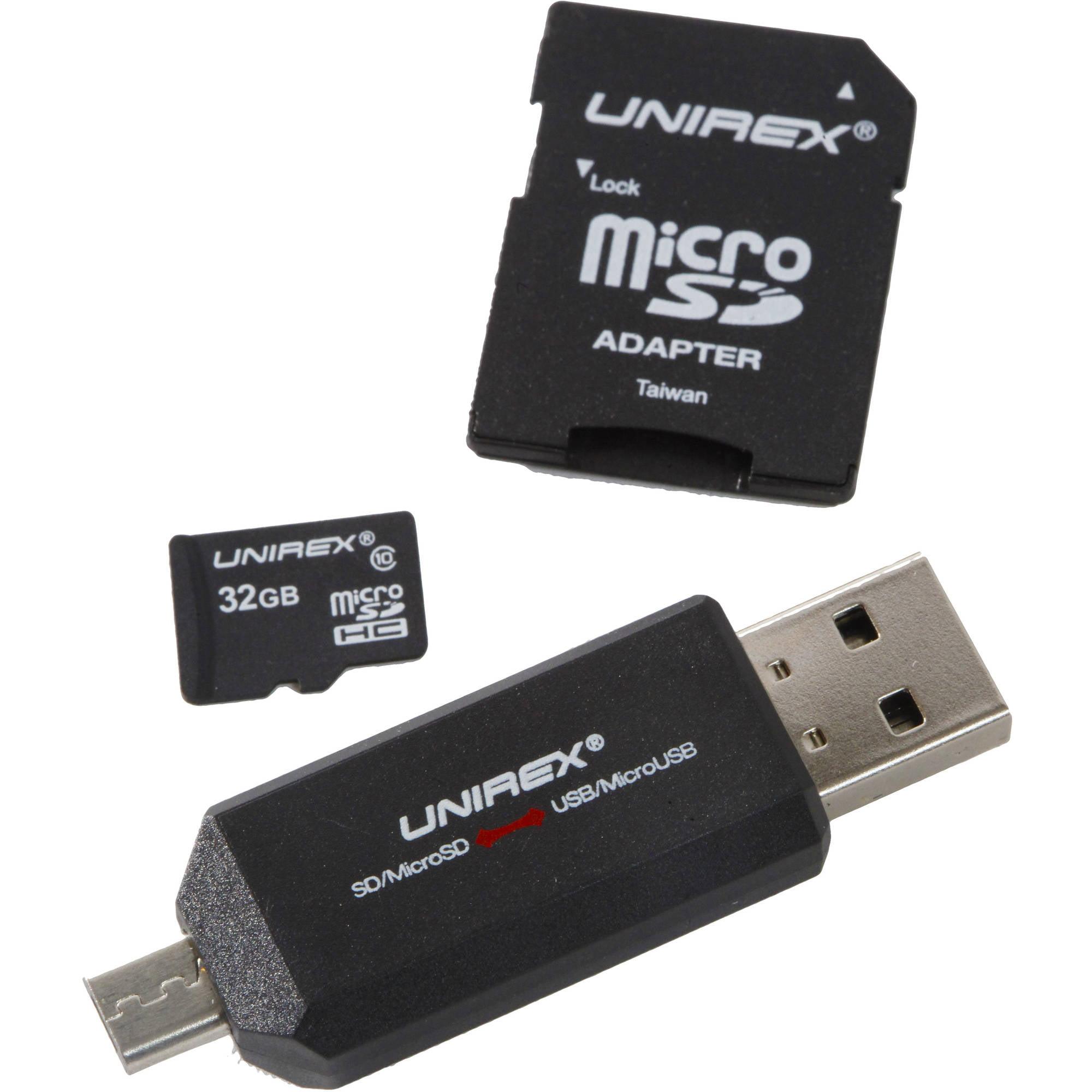 Unirex microSD 32GB Class 10 with USB/microUSB Reader