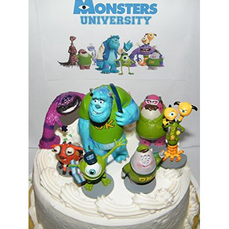 Disney Monsters Inc Deluxe Mini Cake Toppers Cupcake Decorations Set of 7 Figures with Mike, Sulley, Art, Squishy, 2 Headed Monster and More!