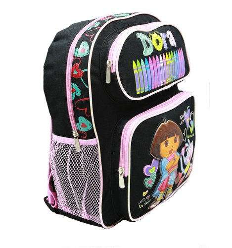 "Medium Backpack - Dora the Explorer - Black Crayon w/Boots 14"" 40997bk"