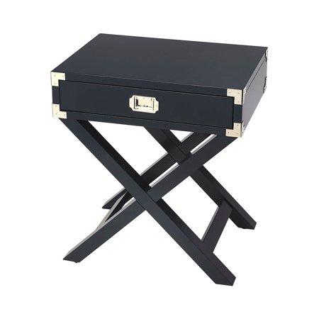 Offex Transitional Rectangular Campaign Side Table - Blue ()