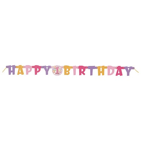 Pink First Birthday Jointed Birthday Banner](First Birthday Banners)