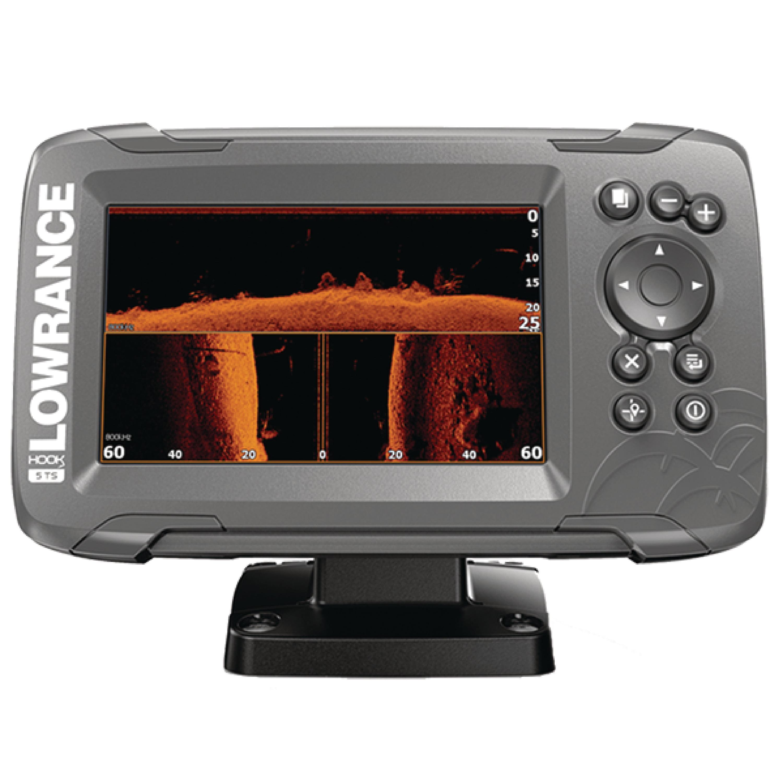 "Lowrance 000-14285-001 HOOK 5 Fishfinder with SplitShot Transducer, US Inland Maps, CHIRP Sonar, SideScan Imaging, DownScan Imaging & 5"" Display"