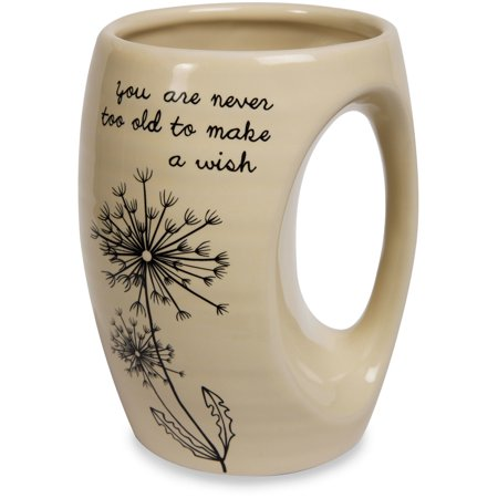 Dandelion Wishes   You Are Never Too Old To Make A Wish Yellow Ceramic Hand Warmer Mug