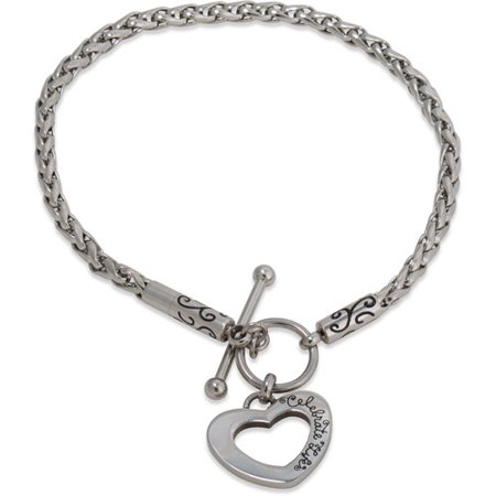 Stainless Steel Heart Toggle Starter Bracelet, 7.25 Collection Stainless Steel Bracelet