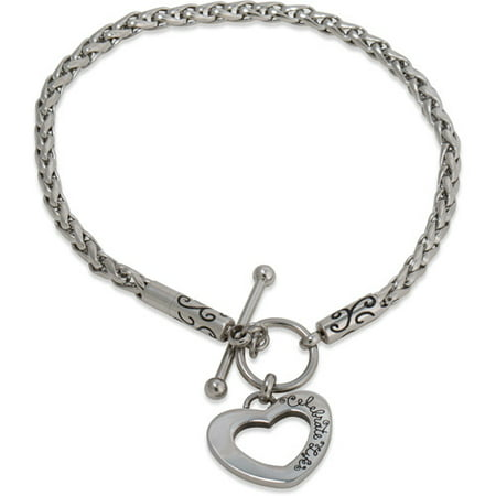 Stainless Steel Heart Toggle Starter Bracelet, 7.25