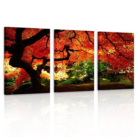 Pyradecor 3 Piece Giclee Canvas Prints Wall Art Paintings Ready to Hang for Living Room Home Decor - Red Maple Trees Large Modern Stretched and Framed Contemporary Landscape Pictures on Canvas Artwork - image 1 of 1