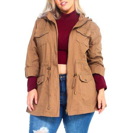f9caf2ced12 Genx - Womens Plus Size Fashion Thick Roll up Canvas Zip Up Parka Jacket W  Hood  KJ805 -3XL-Dk. Khaki - Walmart.com