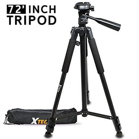 Xtech Pro Series 72' inch Tripod with Carrying Case, 3 way Pan-Head, for Nikon D850 D750 D500 D810 D3400 D3300 D5600 D5500 D7500 D7200 D7100 D7000 D800 D610 D600 D80 D90 D5 D3200