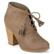 Women's Chunky Heel Lace-Up Faux Suede Ankle Booties