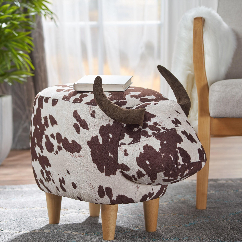 Bessie Velvet Cow Ottoman