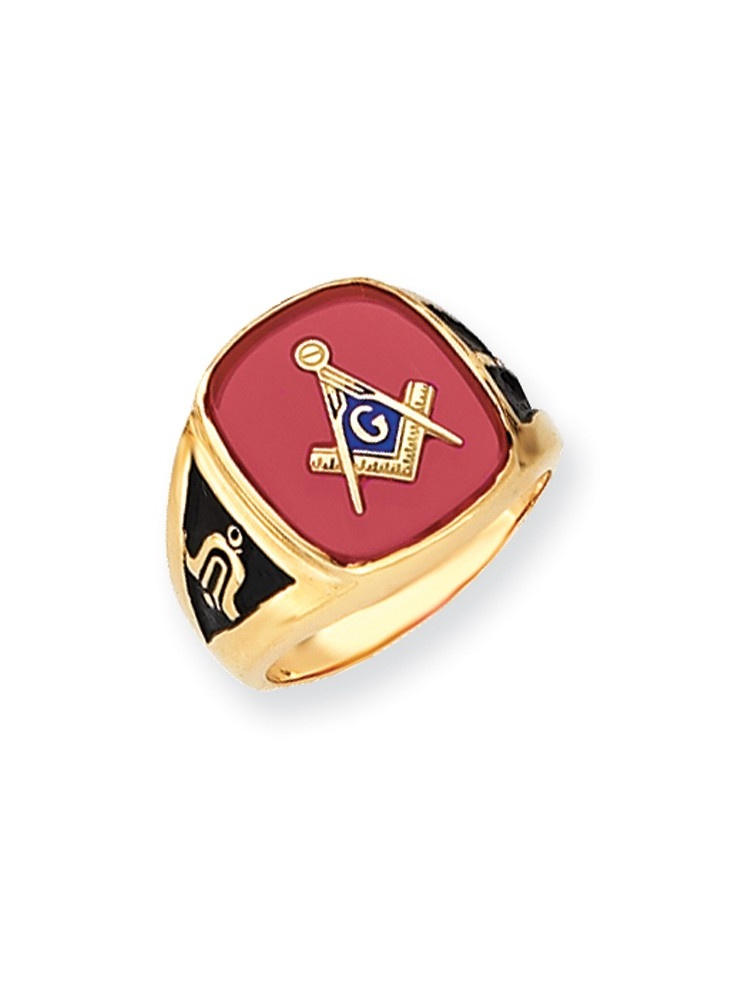 Solid 14k Yellow Gold Men's Simulated Ruby Simulated Masonic Ring (17mm) Size 8 by AA Jewels