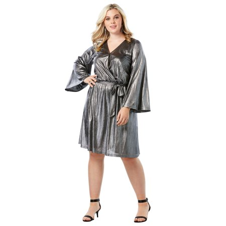 Roaman\'s Plus Size Metallic Faux Wrap Dress With Bell Sleeves