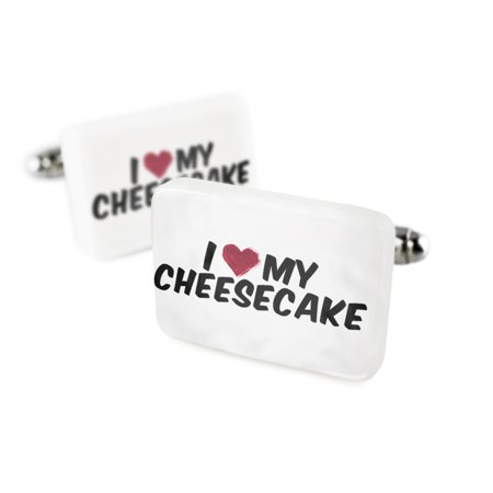 Cufflinks I Heart Love My Cheesecake Porcelain Ceramic Neonblond