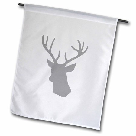 Image of 3dRose Grey Deer head silhouette on white. Modern gray stag with antlers - Garden Flag, 12 by 18-inch