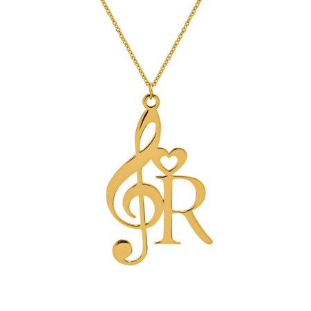 Personalized Sterling Silver or Gold Plated Treble Initial Necklace With Letter and Heart With 18 inch Link - Letter Links