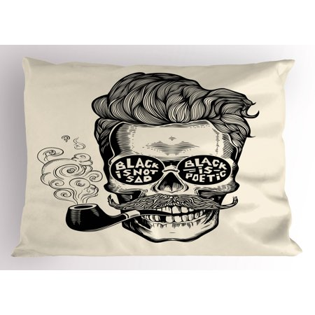 Gentlemans Pipe (Indie Pillow Sham Hipster Gentleman Skull with Mustache Pipe and Eyeglasses with Inscription Vintage, Decorative Standard Queen Size Printed Pillowcase, 30 X 20 Inches, Black Cream, by Ambesonne )