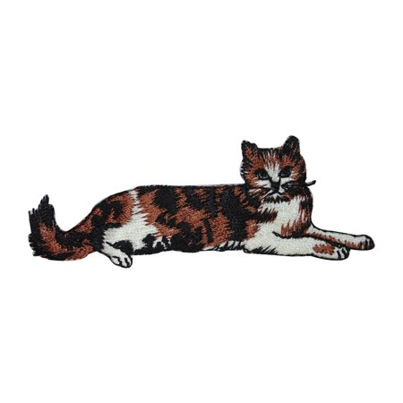 ID 3020 Calico Cat Laying Down Patch Kitten Kitty Embroidered Iron On -