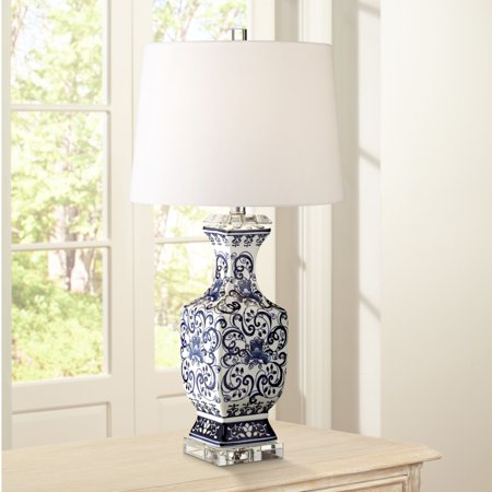 Barnes and Ivy Asian Table Lamp Porcelain Blue Floral Jar Geneva White Drum Shade for Living Room Family Bedroom Nightstand