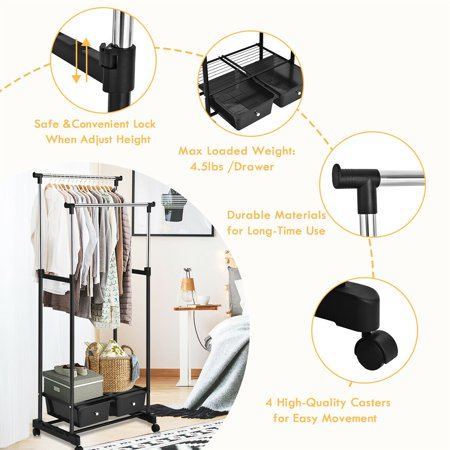 Double Rod Adjustable Clothes Hanger Garment Rolling Rack