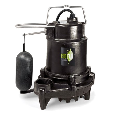 Eco Flo EFSA50 1/2 HP Black Cast Iron Submersible Sump Pump