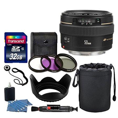 Canon EF 50mm f/1.4 USM Lens + Neoprene Soft Lens Pouch + Transcend 32GB Card + 3 Piece UV Filter Kit 58mm + Tulip Lens Hood 58mm + Cleaning Kit + Cleaning Pen + Lens Cap Holder - Deluxe Lens