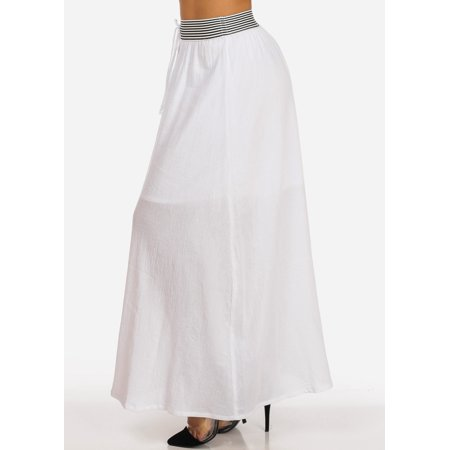 Eurotard Pull On Skirt - Womens Juniors Stylish Casual Everyday Cotton High Waisted Pull On White Maxi Skirt 40153W