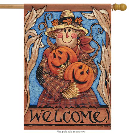 Fall Decorative Banner - Welcome Scarecrow Fall House Flag Double Sided Decorative Banner 28