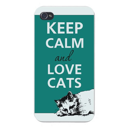 Apple Iphone Custom Case 5 / 5s AND SE White Plastic Snap on - Keep Calm and Love Cats Kitty Laying Down ()