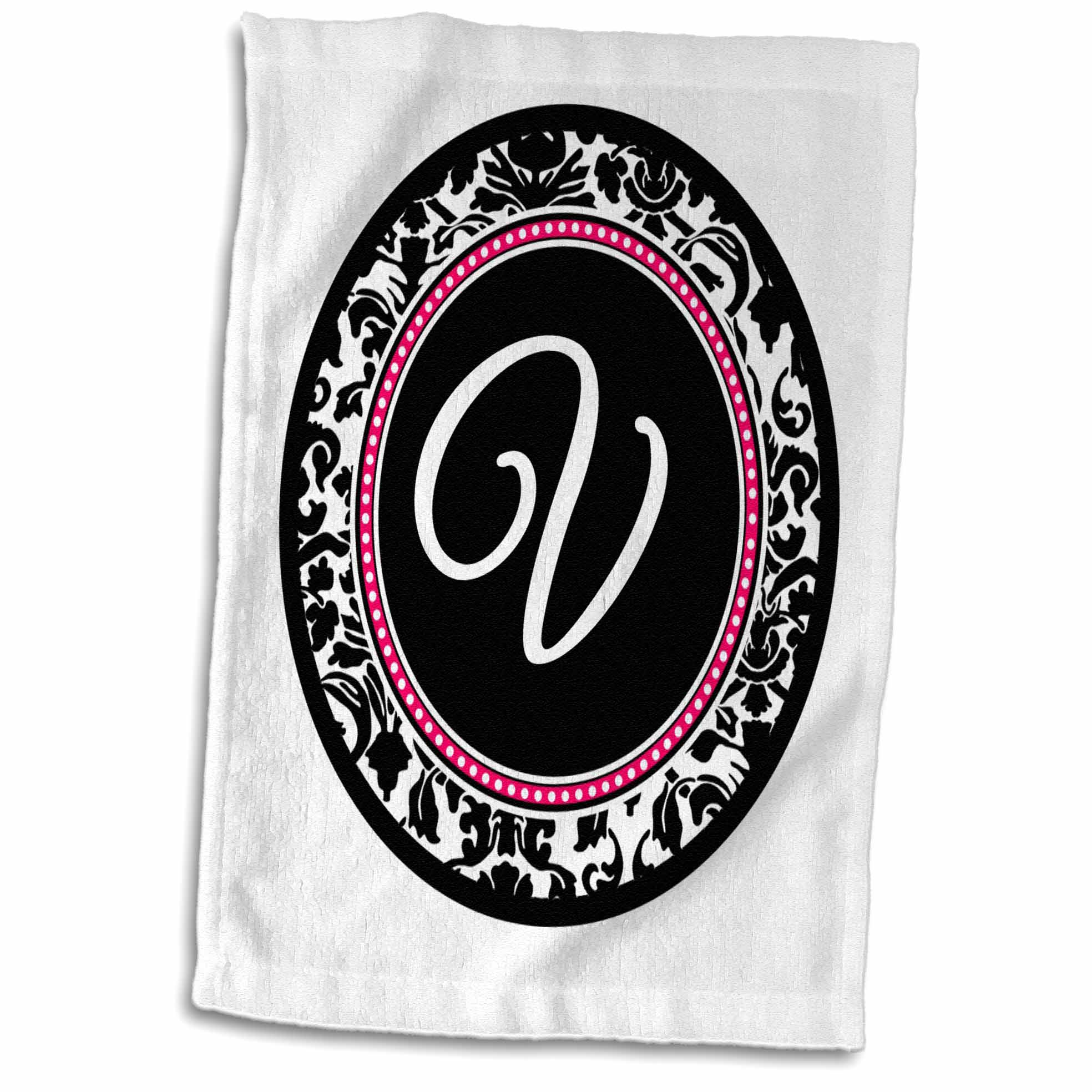 3dRose Letter V stylish monogrammed circle - girly personal initial personalized black damask with hot pink - Towel, 15 by 22-inch