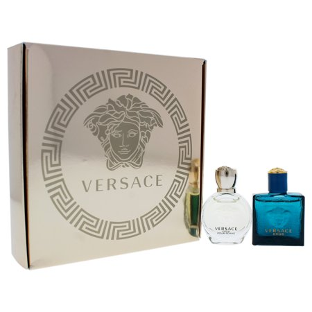 Versace Eros by Versace for Unisex - 2 Pc Gift Set 5ml Pour Femme EDP Splash, 5ml Pour Homme EDT Splash