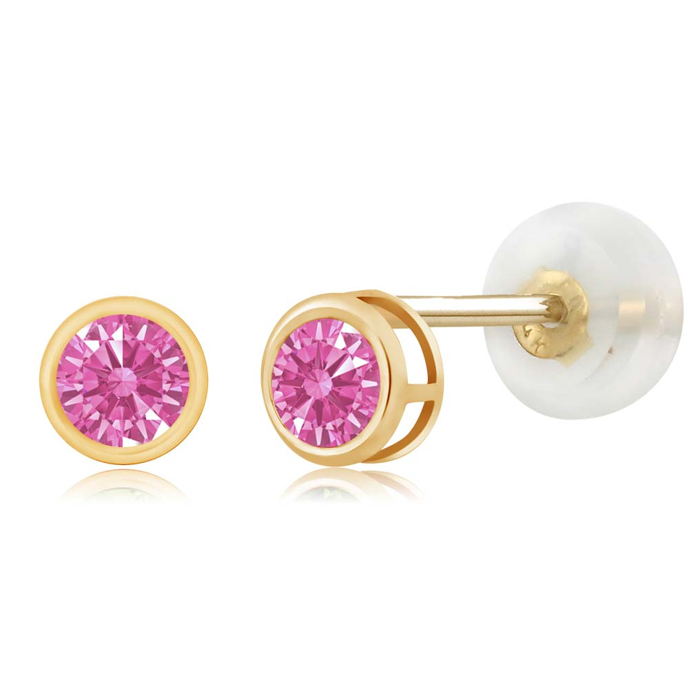 0.22 Ct Pink 14k Yellow Gold Made With Swarovski Zirconia by