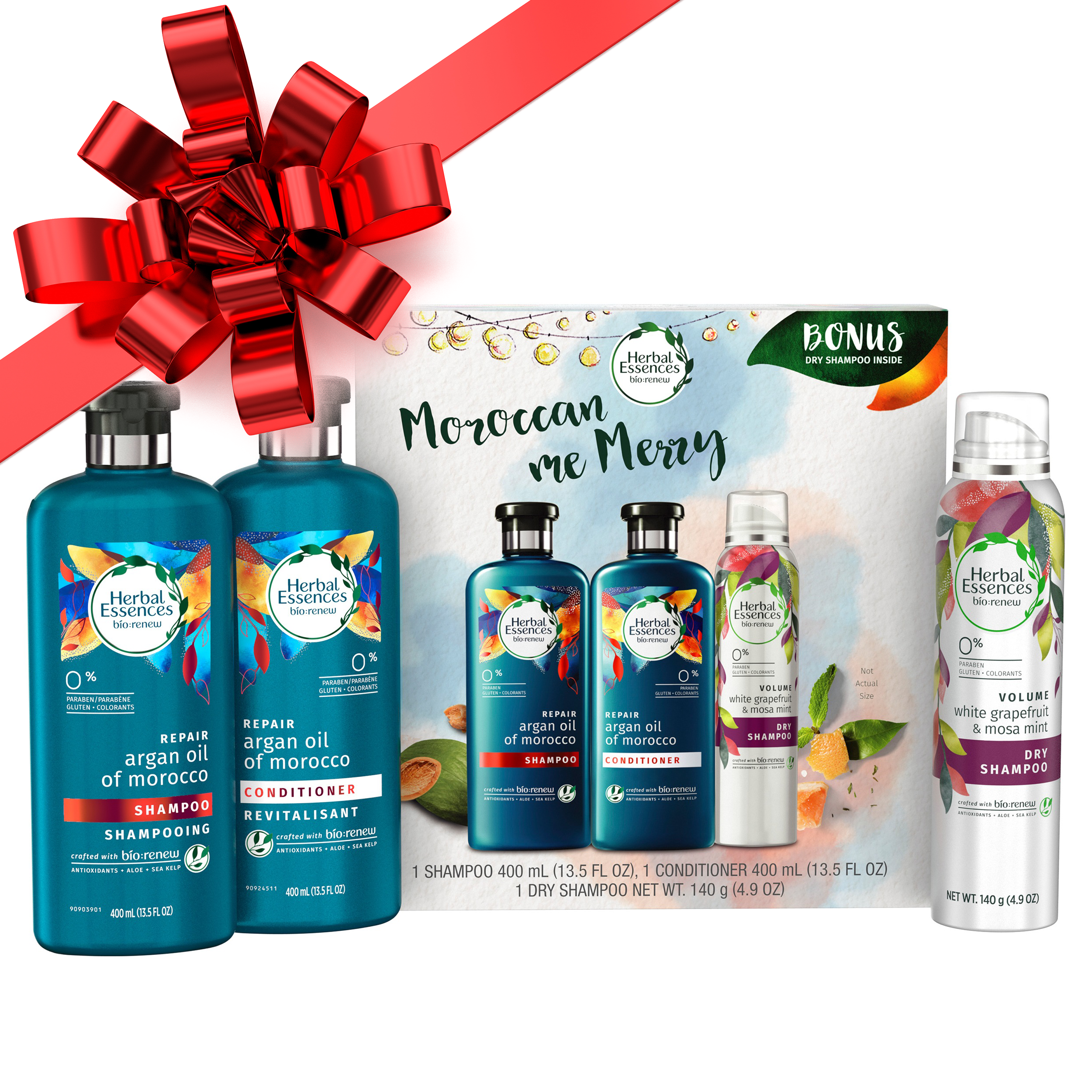 Herbal Essences® Bio:renew Argan Oil of Morocco Shampoo and Conditioner + White Grapefruit Dry Shampoo Holiday Pack