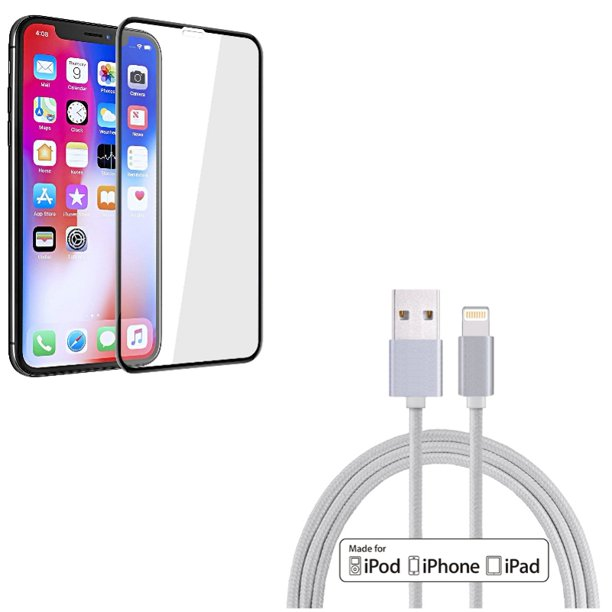 Screen Protector w MFi USB Cable for iPhone XR Tempered Glass 5D Touch Curved Edge Full Cover, 10ft Certified Charger Cord Power