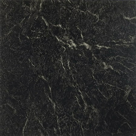 Achim Nexus Black with White Vein Marble 12x12 Self Adhesive Vinyl Floor Tile - 20 Tiles/20 sq. - Black White Marble Tile