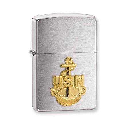 Zippo U.S. Navy Anchor Emblem Brushed Chrome Lighter