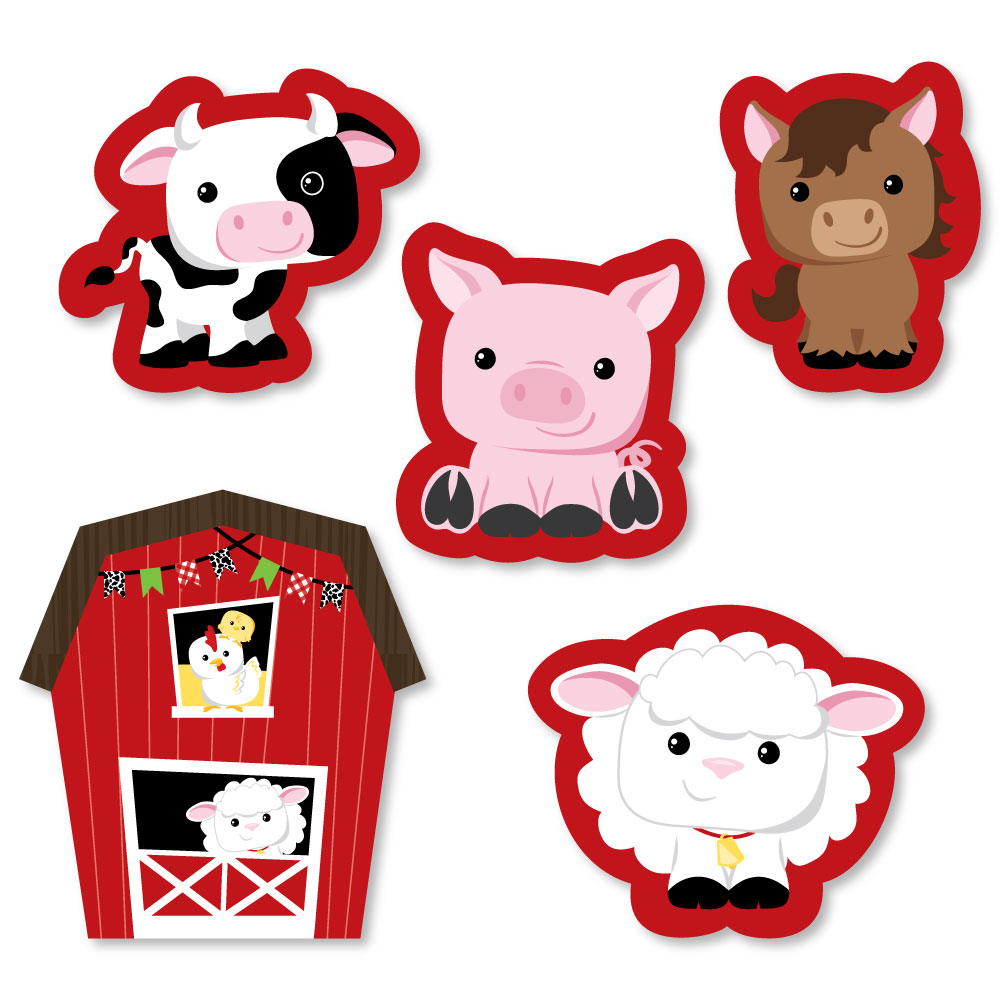 Farm Animals - DIY Shaped Baby Shower or Birthday Party Cut-Outs - 24 Count