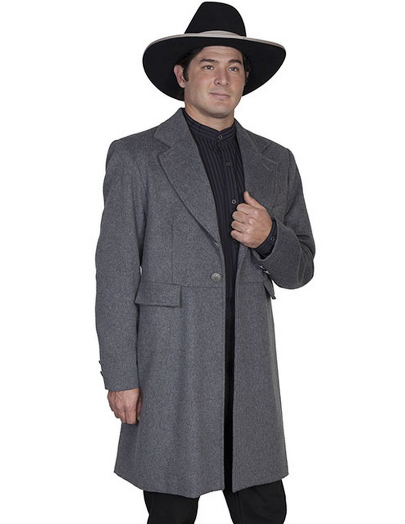 Scully Western Coat Men Wool Polyester Button Frock Fully Lined 520929 by Scully