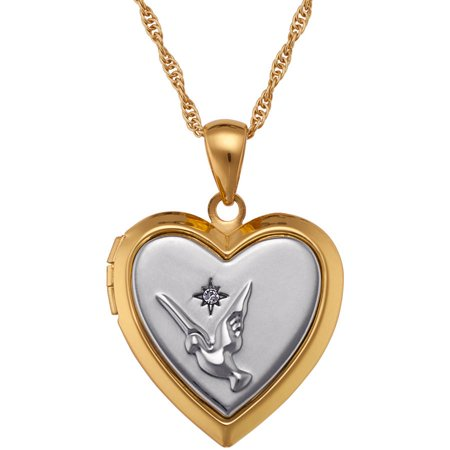 2 Tone Diamond Heart - Two-Tone Memorial Heart Dove Locket Pendant, 16