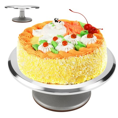Akozon 12 in Cake Turntable Smooth Rotating Stand and Decorating Supplies with Non-slip Silicone Base Aluminium Spining Pedestal Pastry Baking Revolving Cake Stand Silver Cake Decorating Supplies ()