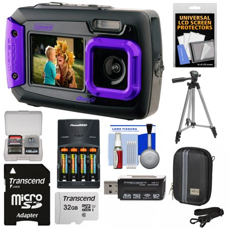 Coleman Duo 2V9WP Dual Screen Shock + Waterproof Digital Camera (Purple) with 32GB Card + Batteries + Charger + Case + Tripod +