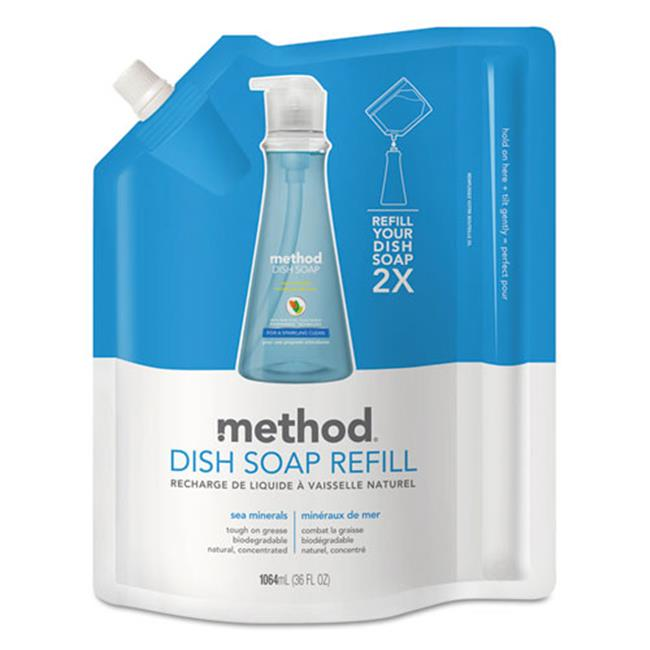 Method Products 01315EA 36 oz Pouch Dish Soap Refill, Sea Minerals