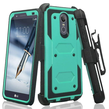 LG Stylo 4 Case, Rugged Series with Built-in [Screen Protector] Heavy Duty  Full-Body Rugged Holster Armor Case [Belt Swivel Clip][Kickstand] (Teal) |