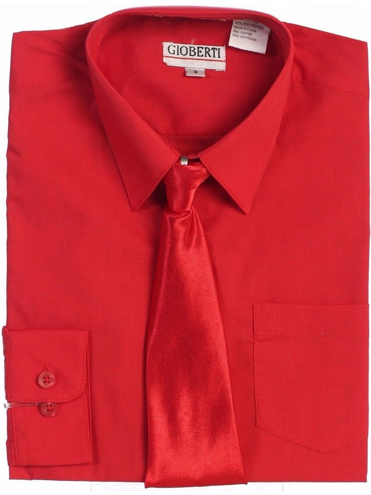 Gioberti Little Boys Red Solid Color Shirt Tie Formal 2 Piece Set