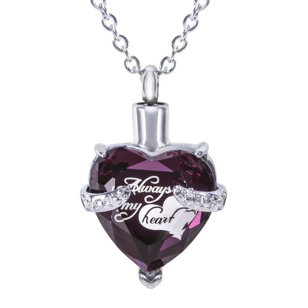 "Cremation Urn Necklace for Ashes ""With Beautiful Gift Box"" Urn Pendant Memorial Keepsake Cremation Jewelry (Purple)"