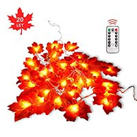 Maple Leaves String Lights,Fall Decor, Christmas Thanksgiving Decorations with Remote Timer 8 Blinking Modes, 8.2Ft/ Waterproof 20LED Garland Fairy Lights, Suitable for Outdoor Party