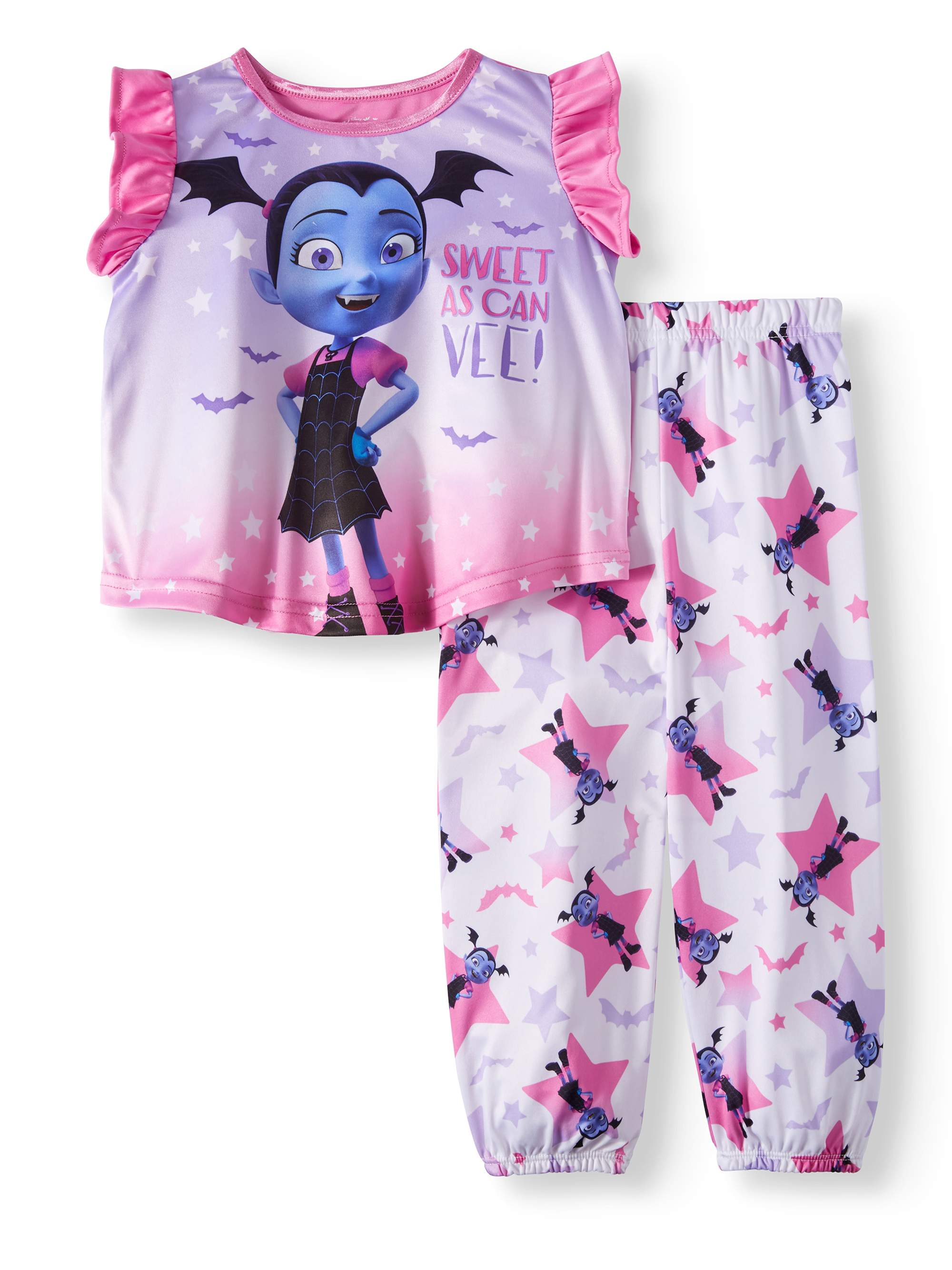 Toddler Girls' Vampirina Short Sleeve Top and Pants, 2-Piece Pajama Set
