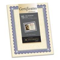 Southworth Foil-Enhanced Parchment Certificate, Ivory w/Blue/Silver Foil, 8 1/2 x 11, 15/PK -SOUCT1R