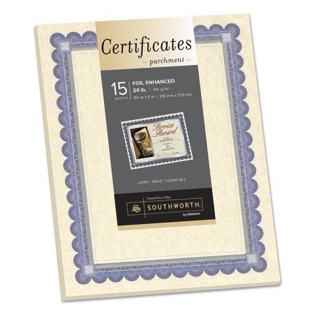 Southworth Foil-Enhanced Parchment Certificate, Ivory w/Blue/Silver Foil, 8 1/2 x 11, 15/PK (Southworth Award)